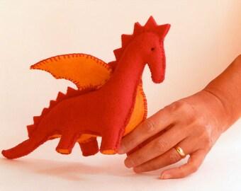 Handmade Red Dinasour - Handmade gift for a baby, child or someone special - Handwork Studio Toronto