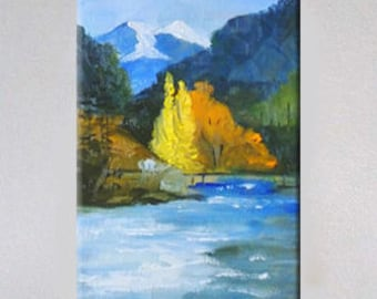Aspen Trees, Landscape Painting, Original, 5x7 Canvas, Oil Painting, Fall Trees,  Mountain, Western, Small, Wall Decor, Autumn, Wall Art