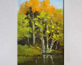Northwest Landscape, Original, Oil Painting, Small, 4x6 Canvas, Tree, Reflection, Green, Pond, Gold, Foliage, Miniature, Forest Scene, Lake
