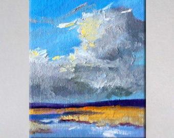 Miniature Landscape, Oil Painting, Original, Seascape, 4x5, Canvas, Wall Decor
