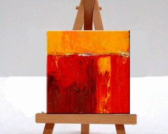 Miniature, Red Abstract, Oil Painting, Original, 4x4 Canvas, Textured, Orange, Yellow, Mid century, Inspired Art, Square Format, Modern Art