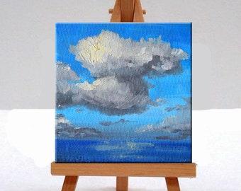 Miniature Seascape, Oil Painting, Original, 4x4, Canvas, Blue, Wall Decor