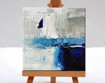 Blue Abstract, Oil Painting, Original, 6x6, Canvas, Textured, Wall Decor, Small, Square Format, Modern Art, Contemporary, Gray, White