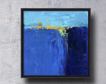Small Abstract, Oil Painting, Original, 6x6, Canvas, Blue, Yellow, Modern Contemporary, knife painting, Textured, Mid-century Inspired