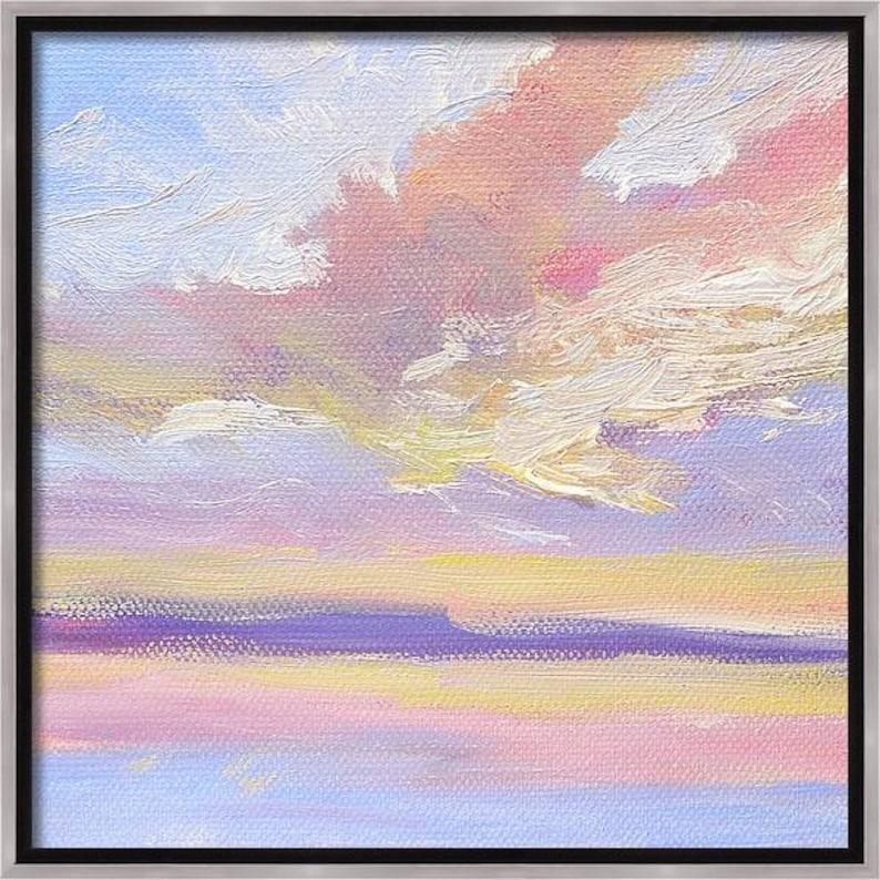 Pastel Sky Oil Painting Small Original