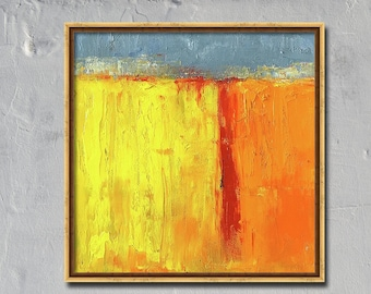Mid-Century, Inspired, Oil Painting, Original, 8x8 Canvas, Yellow, Landscape, Gray, Textured, Wall Decor, Small Art, Square Format