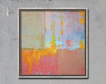 Small, Pink Abstract, Oil Painting, Original, 6x6 Canvas, Textured, Yellow, Gray, Blue, Mid century, Inspired Art, Square Format, Modern Art