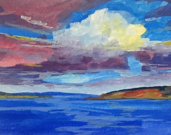 Small, Watercolor, Gouache, Painting, Sky, Clouds, 5x7, Blue, Gold, Original, Seascape, Miniature, Northwest, Puget Sound