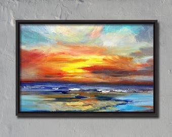 Sunset, Seascape, Oil Painting, Original, 11x14 Canvas, Pacific Coast, Ocean, Yellow, Blue, Orange, Nautical Marine Art, Sea, Waves, Clouds
