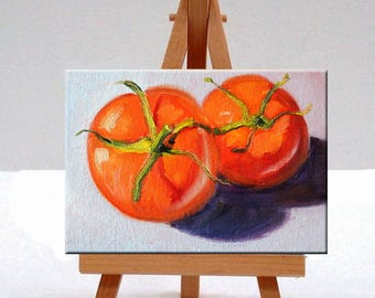 Still Life, Oil Painting, Tomatoes, Red Fruit, Small 5x7, Original, Kitchen Wall Decor, Minimalist, Food Art, Colorful, Vegetables, Canvas