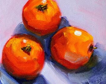 Red Fruit, Still Life, Oil Painting, Original 6x6, Canvas Wall Decor, Kitchen Art, Orange Lavender, Apples, Square Format, Minimalist