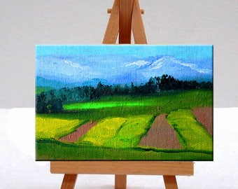 Small Landscape Oil Painting, Original 4x6 Canvas, Mountain, Fields, Spring Crops, Green Blue Yellow, Little Miniature, Rural Country