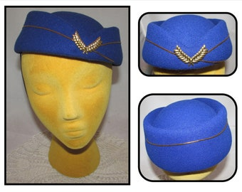 141fe2e4e83 Vintage Blue Felt Flight Attendant   Stewardess Cap Hat with Gold Cording  and Wreath Badge w  Chin Strap