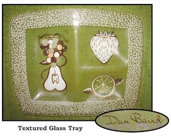 On Sale Designer Dan Baird Hand Painted 7 inch Square Grape Glass Decorative Plate