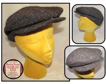 f4f89d7918f Vintage Brown 100% Wool Harris Tweed Hat Cap