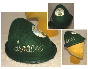 Vintage Souvenir Green Felt Peter Pan Hat Cap 5d50d8320e61