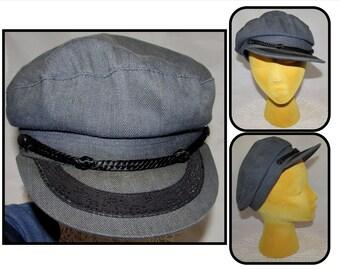 be350c06c21 Vintage Cotton Greek Fisherman Hat Cap with Black Braiding