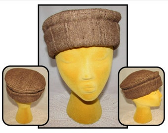 e3703983233 Vintage Dense   Thick Brown Wool Cap Hat