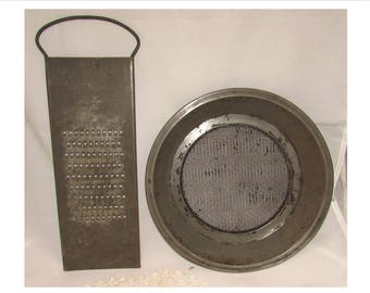 Vintage Old Metal Kitchen Utensils, Flour Sifter Sifting Pan U0026 Vegetable  Grater, 40s, Kitchenware, Baking, Rustic Farmhouse Decor