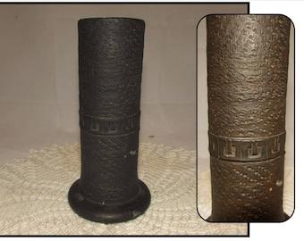 Vintage Earthenware Pottery Black Brown Nippon Japan Vase