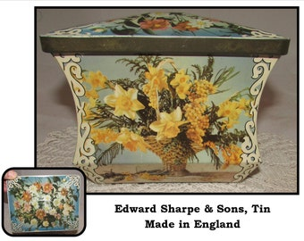 Vintage Biscuit Toffee Tin with lid by Edward Sharpe & Sons, Maidstone England, storage container, daffodil flowers