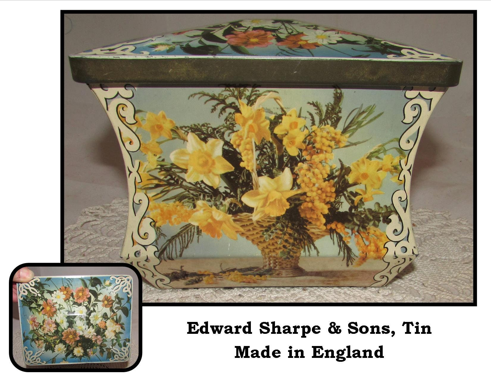 Vintage Biscuit Toffee Tin with lid by Edward Sharpe & Sons