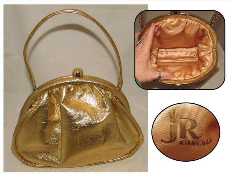 74bf32d50 Vintage Metallic Gold Faux Leather Handbag Purse w Clear Vinyl | Etsy