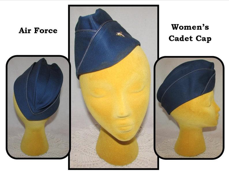 Vintage Woman's Cadet Flight Cap, Blue Wool Elastique w/ Air Force Pilot  Wings Pin, Bernard Cap Co , Size 22