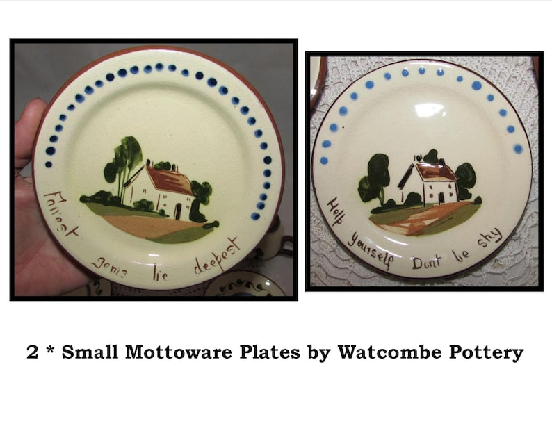 2 Vintage Small Mottoware Torquay Plates by Watcombe Pottery