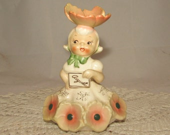Vintage Napco Flower of the Month Birthday Girl Figurine, August, Peach Poppy, 50s, National Potteries, 1C1931