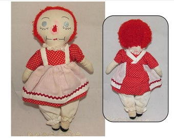 Vintage Homemade Stuffed Cloth Raggedy Ann Rag Doll, 70s, Classic collectible rag doll toy, embroidered face