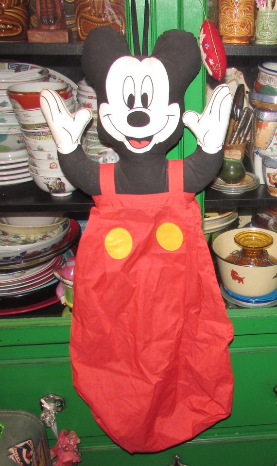 Vintage Mickey Mouse Hanging Pajamas or Laundry Bag child/'s room decor Walk Disney Character
