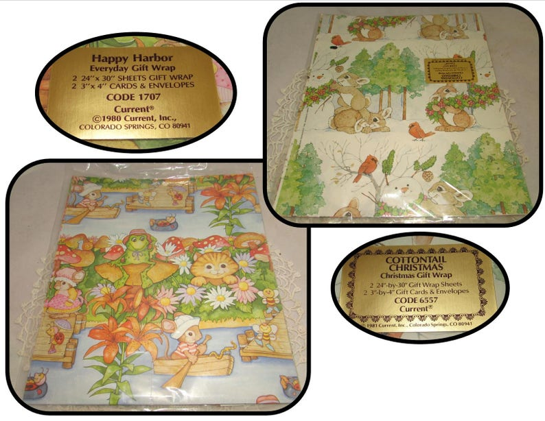 Happy Harbor Frogs /& Bugs Cottontail Christmas Rabbits Bicycling Bears Vintage Gift Wrapping Paper Current LOT of 4 Packages Gibson