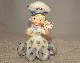 Vintage Napco Flower of the Month Birthday Girl Figurine, September, Blue Aster, 50s,  National Potteries, 1C1931