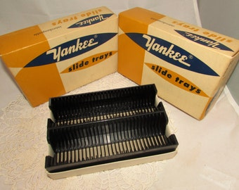 Vintage Yankee Plastic Slide Trays Holders in Original boxes, 60s, 2 trays in each box, photo accessory