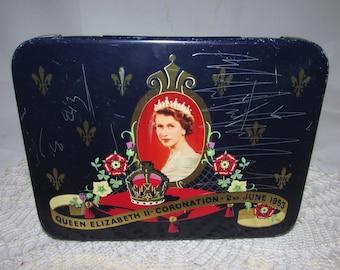 Vintage Souvenir Cadbury Candy Tin to Commemorate Coronation of Queen Elizabeth II, 1953, England