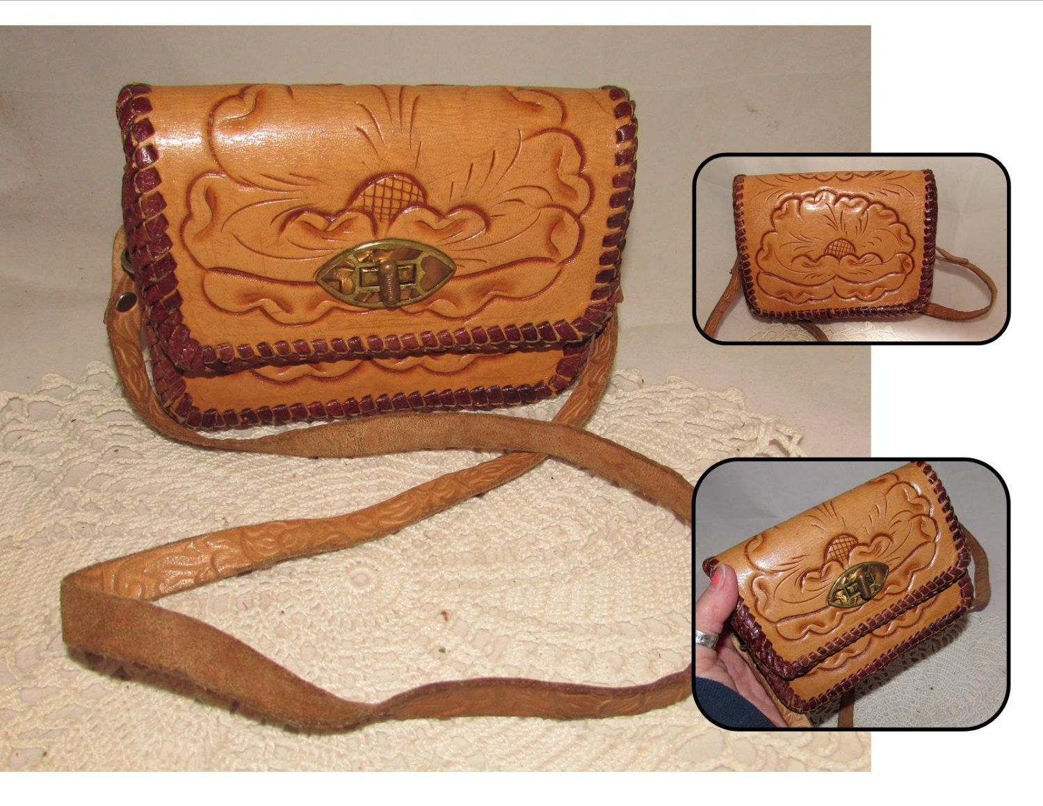 254f21bb6acd Small Vintage Tooled Leather Childs Child sized purse bag
