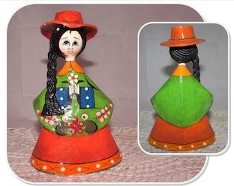 Vintage Mexican Senorita Girl Paper Mache Figurine, Colorful Folk Art Doll, A.N. Mexico