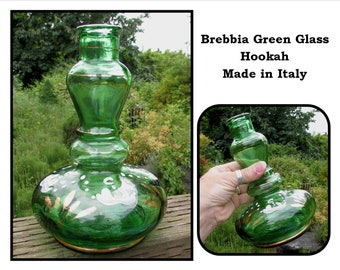 Vintage Italian Green Brebbia Glass Hookah Base Bottle, Hand Painting, 50s, Italy