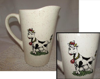 Vintage Ceramic Milk Juice Water Pitcher with Cute Winking Bessie Cow Transfer on each side, 70s, Speckled glaze, tableware, serving