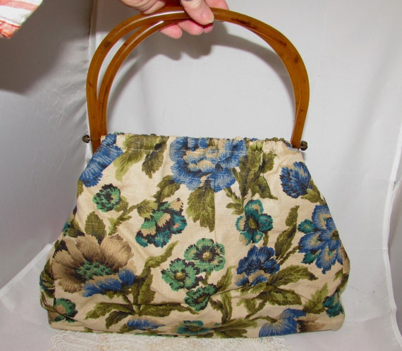 Brushed floral  regular Knit and Crochet project bag linen canvas and wool blend