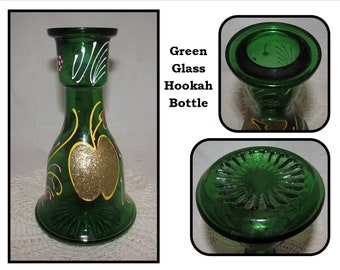 Vintage Blue Glass Hookah Base Bottle, hand painted white & gold accents