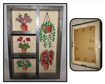 Small Framed Vintage Crewel Embroidered Picture of House Plants, 70s, wall art, handmade