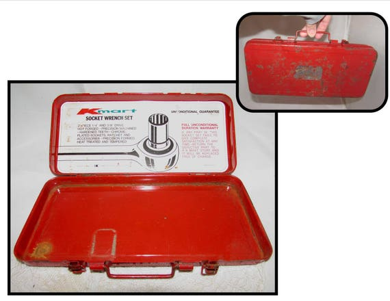 Kmart Vintage Rouge Metal Outil Boite Seulement Douille Cle Etsy