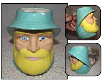 Vintage Ceramic Fisherman Mug Cup w/ Fish handle, aqua, bearded man, face