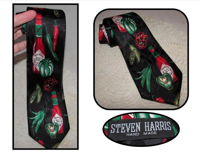 3bbf6e2134ee Vintage Steven Harris Polyester Necktie Tie w/ Tabasco Hot | Etsy
