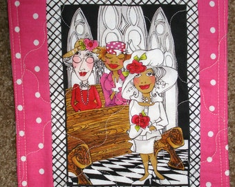 snack mat, placemat, Loralie, church ladies, handmade, quilted, pinks, whimsical, comical, bright colors, 7 by 10 inches, eco friendly