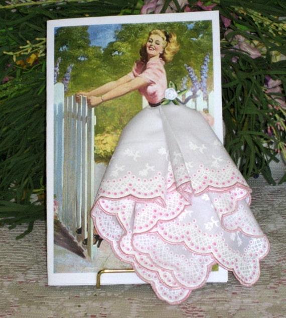 I Am Beautiful Pinup Girl Keepsake Hanky Card