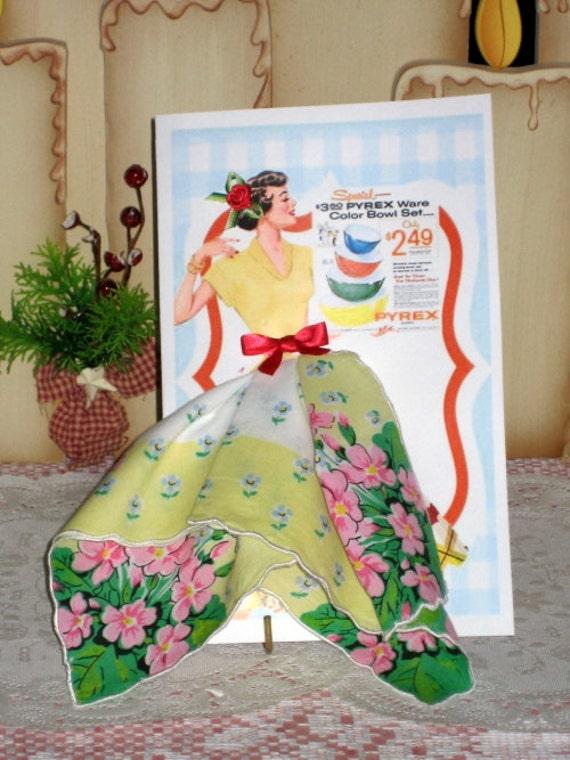 Lovely Lady Keepsake Hanky Card Pyrex