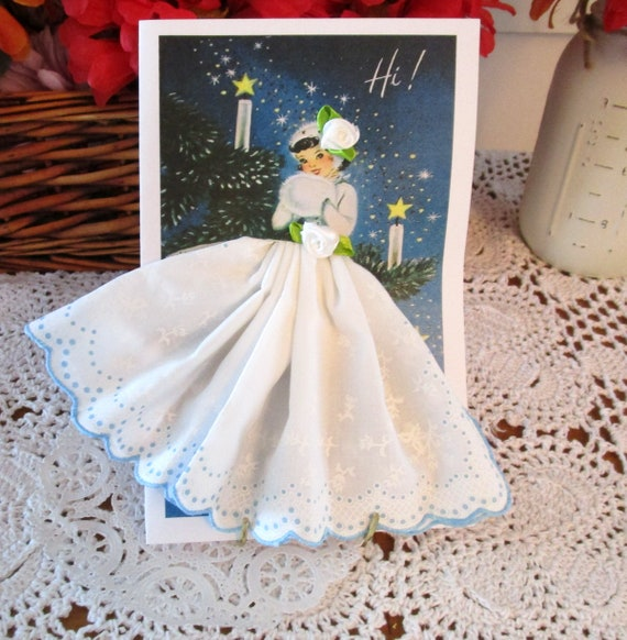 Snow Queen Christmas Hankie Card